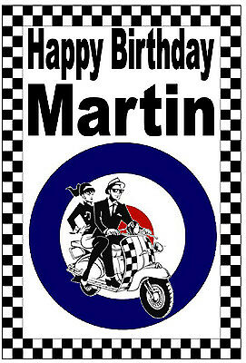 Ska / Mods - Happy Birthday Personalised Card - Any Name - Gloss Finish