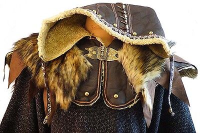 Pirate-Reenactment-Larp-Sca-Cosplay-Medieval- ORNATE LEATHER HOOD - ONE SIZE