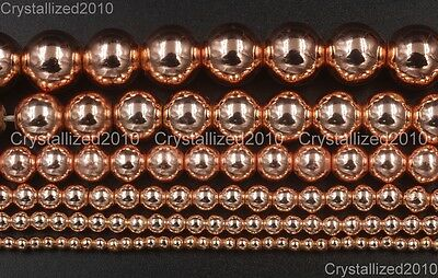 Natural Rose Gold Hematite Gemstones Round Beads 2mm 3mm 4mm 6mm 8mm 10mm 16''