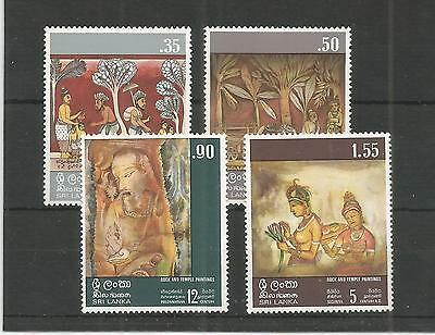 Sri Lanka 1973 Rock And Temple Paintings Sg,599-602 U/mm Nh Lot 3505A