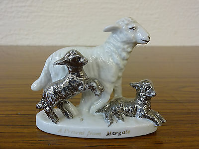 China Model of a Sheep & Two Lambs: A Present From Margate