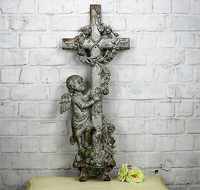 Antique Architectural Victorian Cast Iron French Crucifix Angel Authentic