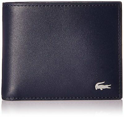 Lacoste Men's Wallet S Billfold Cc Holder Navy Blue