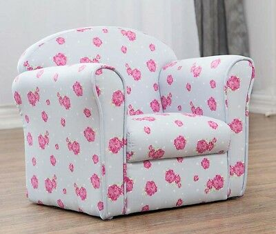 Children's Kids Armchair Tub Chair Pink White and Blue Floral Pattern