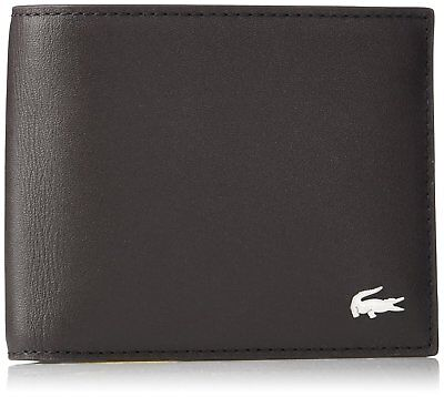 Lacoste Men's Wallet S Billfold Cc Holder Dark Brown