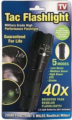 1 x TAC LIGHT 5 LED MODES High Perf Military Grade Tactical Flash Light Torch