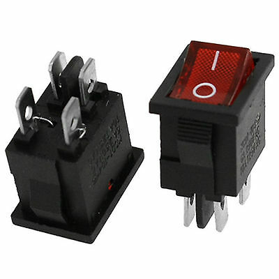 5PCS Red Light Illuminated DPST ON-OFF Snap in Rocker Switch 6A/250V 10A/125V AC
