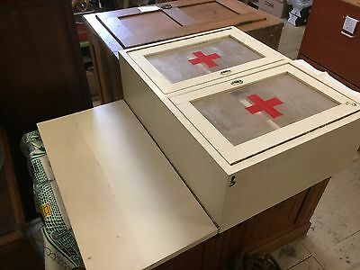 Vintage Wooden Wall Mount Medicine First Aid Cabinet Glass Red cross Shelves