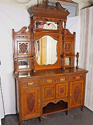 An Antique Late Victorian Solid Oak Mirrored Dresser Sideboard ~Can Deliver~