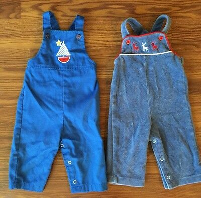 Vintage 80s HealthTex Blue Sailboat Overalls Velour Reindeer Holiday Overall USA