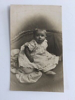 Vintage BW Real Photo #AT: Baby: Christening Robe