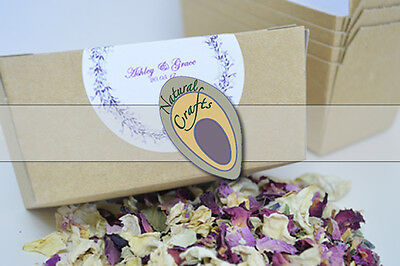 Personalised Biodegrable Dried Flower and Rose Petal Confetti Pack for weddings