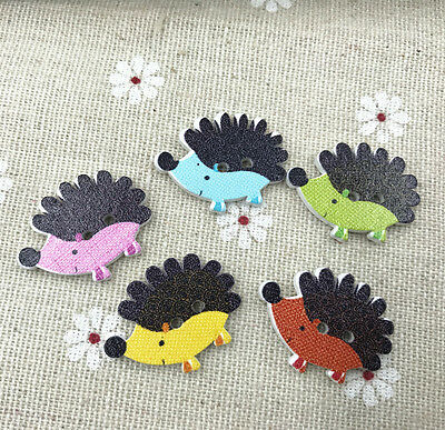 50pcs Hedgehog Wooden buttons Mix-color 2-hole Sewing scrapbooking crafts 25mm