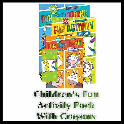Childrens Kids Puzzle Colouring Activity Pack Fun Books Dot To Dot Crayons Uk