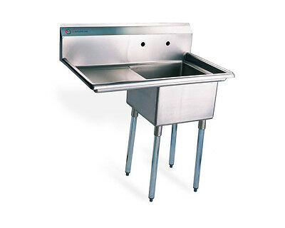 "EQ 1 Compartment Commercial Kitchen Sink Stainless Steel 26.5""x19.5""x43.75"""