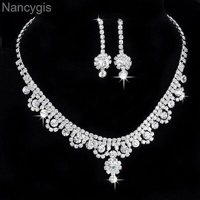 Stunning Crystal Flower Necklace and Earrings Party Formal Wedding Jewellery Set