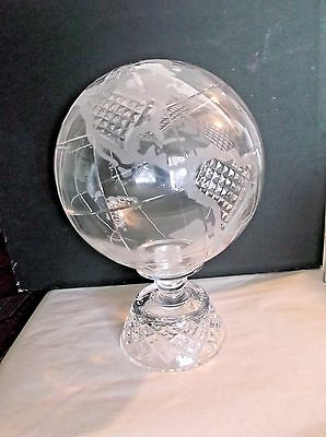 "Rare CAVAN Crystal Medium 10"" World Globe Statue. Ireland"