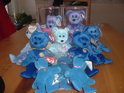 Large Lot 10 Retired Blue Beanie Babies Bears Collection Clubby IV II EggII MCDs