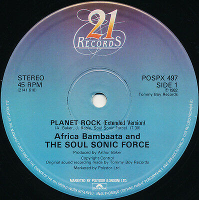 "AFRICA BAMBAATA AND THE SOUL SONIC FORCE 'Planet Rock' (POSPX 497) Vinyl 12"" VG+"