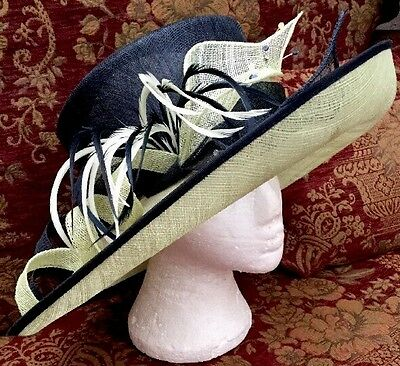 Gorgeous Dark Navy & Pale Lime Green Wedding Hat By Jacques Vert BNWT MOB