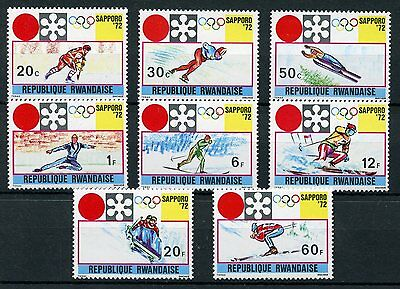 Rwanda 1972 MNH Winter Olympics Sapporo 8v Set Skiing Skating Sports Stamps