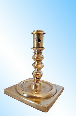 Spanish Brass Square Base Candlestick With Shaft Screwed Into Base, C. 1690