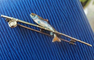 9ct Gold & Silver + Enamel Trout Fish / Fishing Rod Brooch -  Alabaster & Wilson