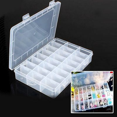 2 x 24 COMPARTMENTS PLASTIC BOX CASE JEWELRY BEAD STORAGE CRAFT ORGANIZER