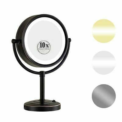 "GURUN 8.5""  X10 Magnifying Lighted Table Makeup MIrror with 50 Led Light Bronze"