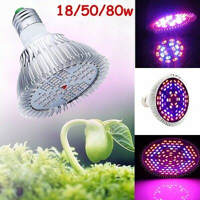 E27 UV/IR 18/50/80W Full Spectrum LED Growing Light Lamp For Flower Plant Veg
