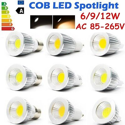 MR16/GU10/E27/E14 LED COB 6W/9W/12W Spot Lights Downlight Bulb Lamp AC110-220V