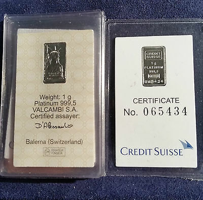 Credit Suisse 1 Gram .9995 Platinum Bullion Bar Valcambi Statue Of Liberty Dbw