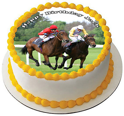 RACE HORSE RACING 7.5 PREMIUM Edible RICE Cake Topper CAN BE PERSONALISED D6