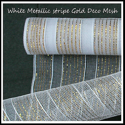 Deco Mesh White Stripe/Gold Thread 50cm x 9m Roll - 52 Colours Available -UK