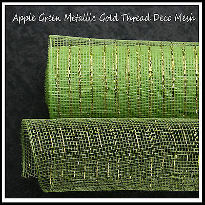 Deco Mesh Apple Green Metallic/Gold 50cm x 9m Roll - 52 Colours Available -UK