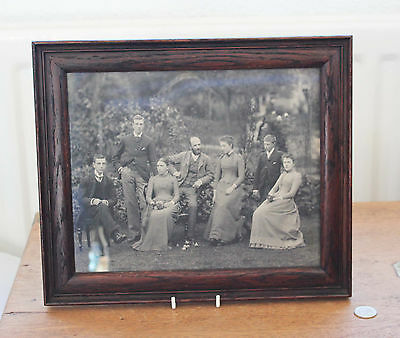 Framed Old Edwardian ?? Family Group Photograph / Print  : Dark Wood Frame