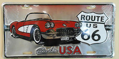 NEW Corvette  US ROUTE 66 License Plate METAL TIN SIGN