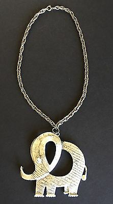 ELEPHANT Trunk Up Necklace with Chain Large Silver Tone
