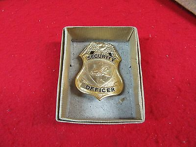 Vintage Security Officer Badge,Gold Plated,Authentic,w/Box ~*CLEARANCE~#SB102316