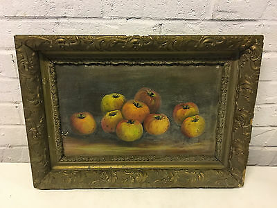 Antique 19th / 20th Century Still Life Fruit Painting of Apples or Pumpkins
