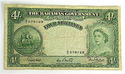 Bahamas No Date (1953) 4 Four Shillings Banknote