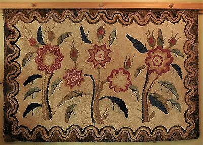Antique 19th C American HOOKED RUG [3x5] naive design Folk Art flowers, rare