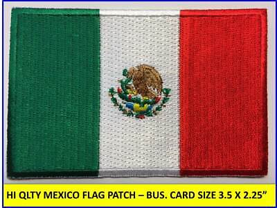 """MEXICAN FLAG PATCH IRON-ON SEW-ON EMBROIDERED MEXICO EMBLEM (3½ x 2¼"""")- HI QLTY!"""