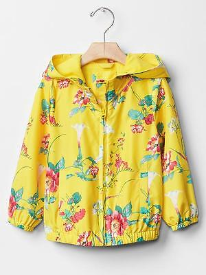 Baby Gap Girl's Spring Yellow Floral Print Windbreaker Jacket Size 3T NWT