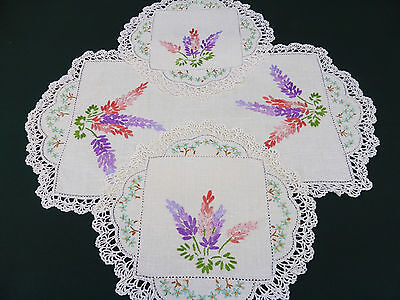Vintage 3 Piece Duchess Set ~ Cream Linen with Hand Embroidered Lupine Flowers