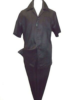 Men Giorgio Inserti By Inserch 2pc linen walking suit Short Sleeves 93C34 Black