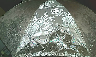 VTG. OOAK Asian/Chinese Silk Umbrella/Parasol- Sequins/Chome/Paradise Wedding