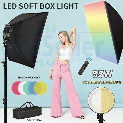 Photography Studio Softbox LED Dimmable Lighting Soft Box Light Stand Kit 2018