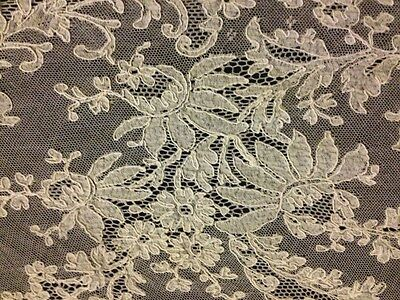 Antique Panel of Brussels HM Needle Lace Embroidery on Veil Uneven Shape #1