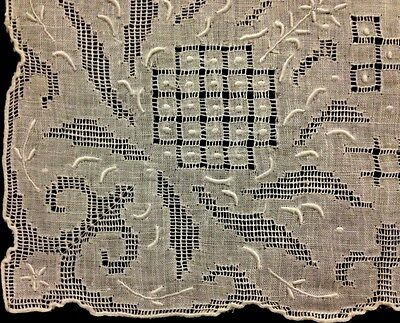 Lovely Bridal Handkerchief  Hand Made Embroidery Cut-work Buttonhole Hem, Drown-